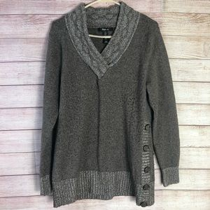 Style & Co Brown V Neck Knit Sweater Large